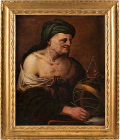 17th century Italian figure painting - Astronomer - Oil on canvas Venice Baroque