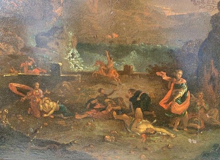 17th century Italian figure painting - Fetonte landscape - Oil on copper Baroque For Sale 6