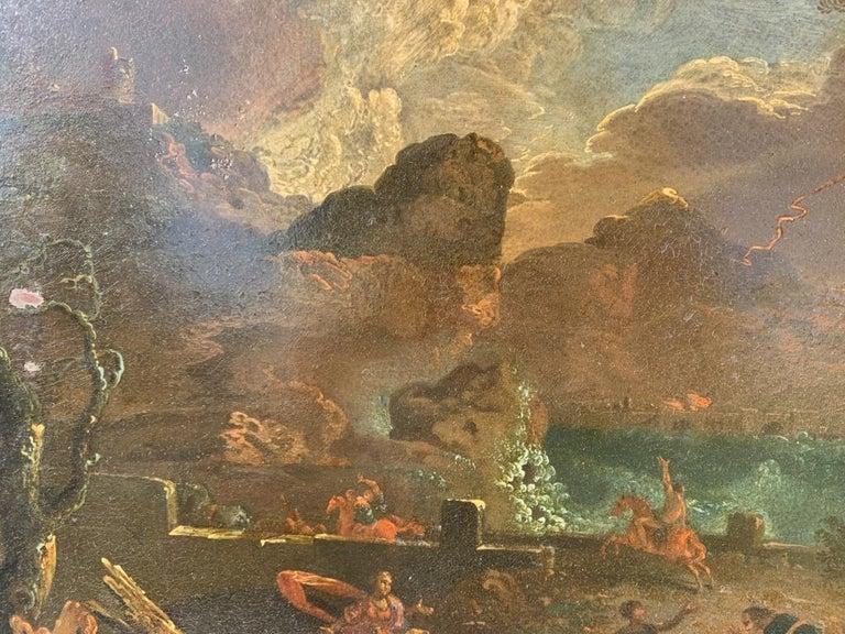 17th century Italian figure painting - Fetonte landscape - Oil on copper Baroque For Sale 7
