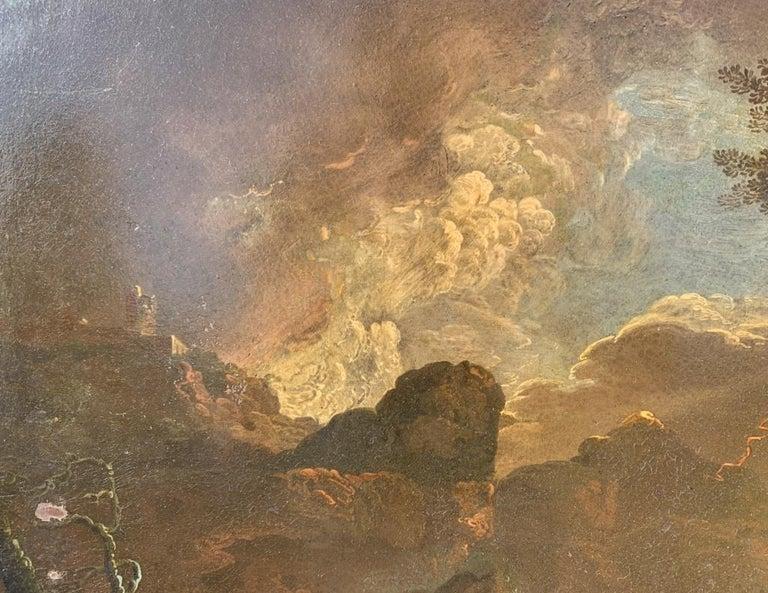 17th century Italian figure painting - Fetonte landscape - Oil on copper Baroque For Sale 8
