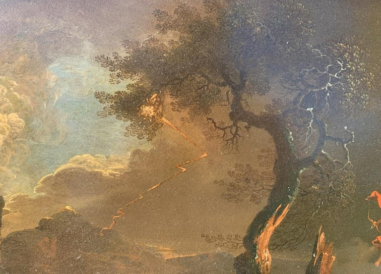 17th century Italian figure painting - Fetonte landscape - Oil on copper Baroque For Sale 9