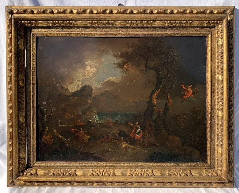 17th century Italian figure painting - Fetonte landscape - Oil on copper Baroque - Painting by Unknown