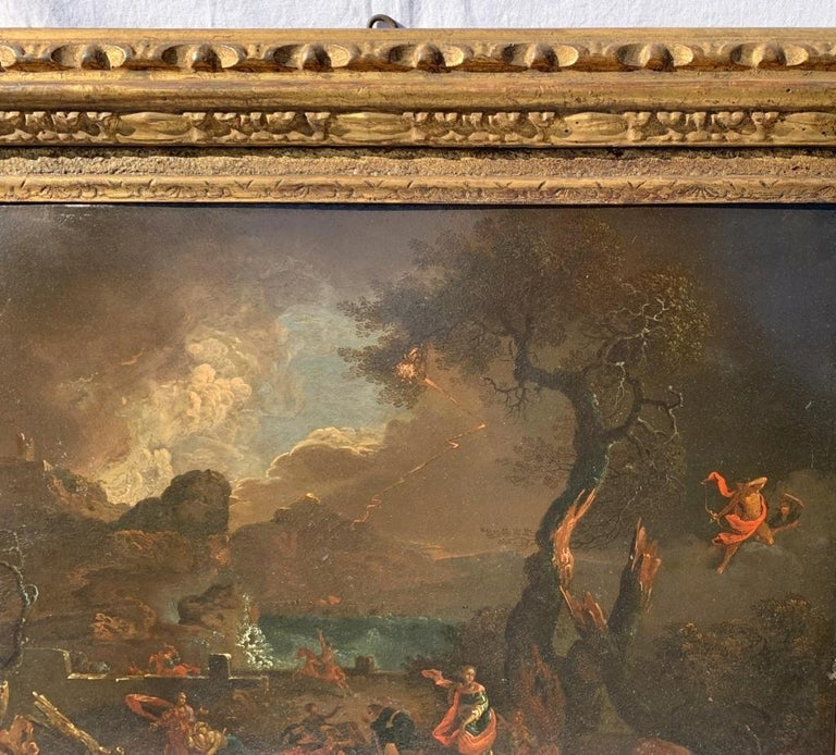 17th century Italian figure painting - Fetonte landscape - Oil on copper Baroque - Brown Landscape Painting by Unknown
