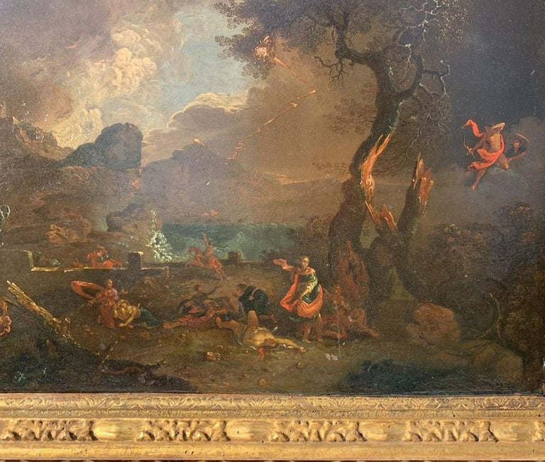 Roman master of the seventeenth century. - The fall of Phaeton in a landscape.   38 x 51 cm without frame, 58 x 70 cm with frame.   Oil on copper, in a carved and gilded wooden frame.