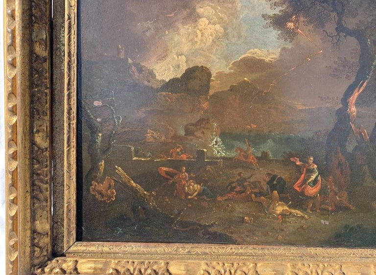 17th century Italian figure painting - Fetonte landscape - Oil on copper Baroque For Sale 1
