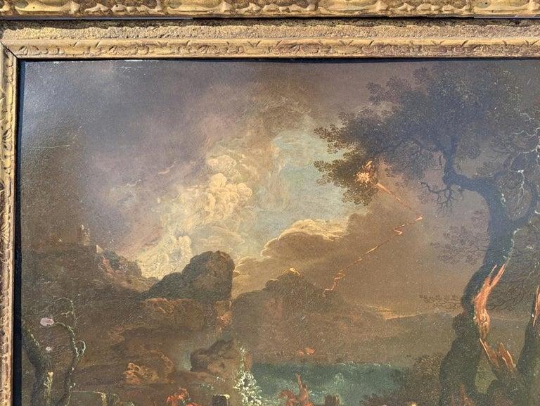 17th century Italian figure painting - Fetonte landscape - Oil on copper Baroque For Sale 2