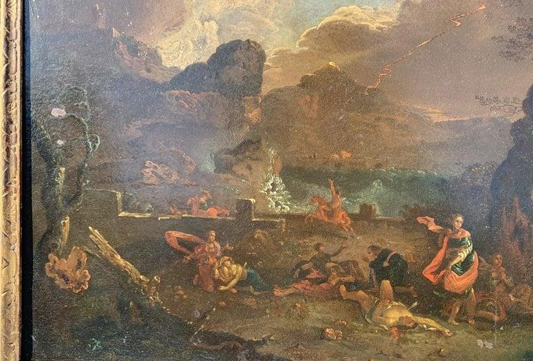 17th century Italian figure painting - Fetonte landscape - Oil on copper Baroque For Sale 3