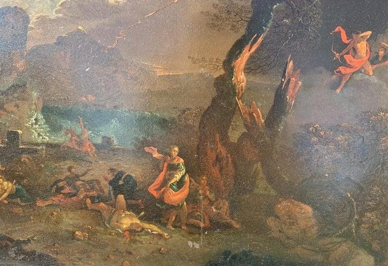 17th century Italian figure painting - Fetonte landscape - Oil on copper Baroque For Sale 4