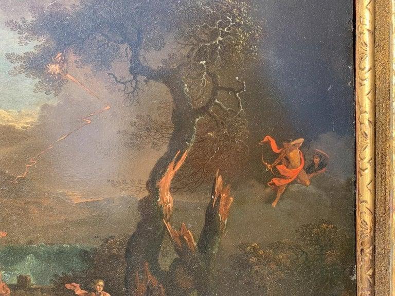 17th century Italian figure painting - Fetonte landscape - Oil on copper Baroque For Sale 5