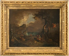 17th century Italian figure painting - Fetonte landscape - Oil on copper Baroque