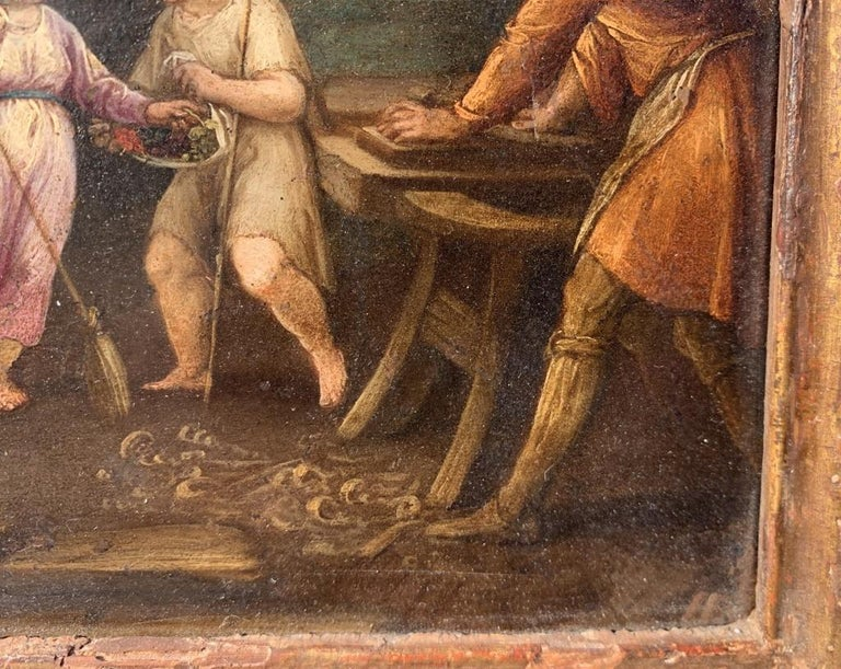 17th century Italian figure painting - Holy Family - Oil on copper Old Master For Sale 5