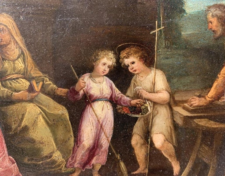 17th century Italian figure painting - Holy Family - Oil on copper Old Master For Sale 6