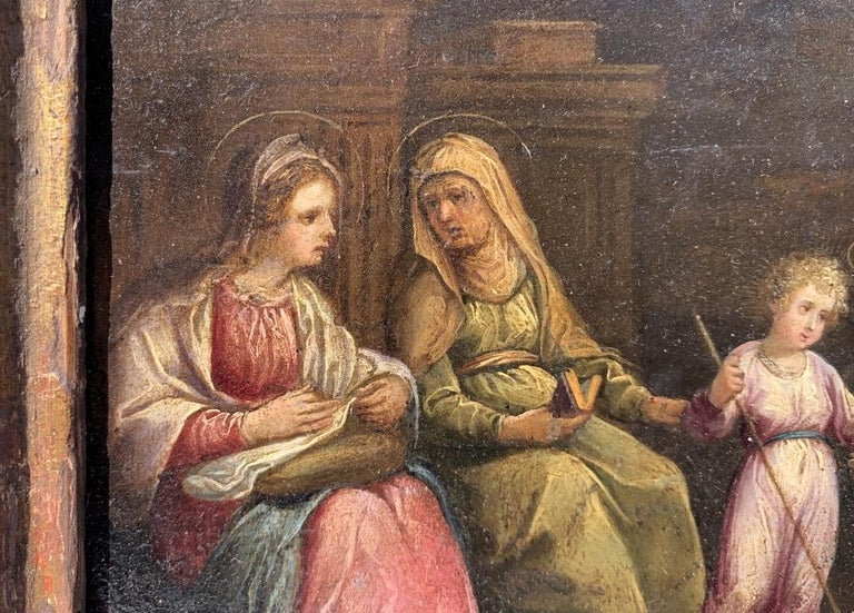 17th century Italian figure painting - Holy Family - Oil on copper Old Master For Sale 7