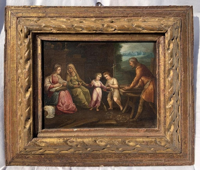 17th century Italian figure painting - Holy Family - Oil on copper Old Master - Painting by Unknown