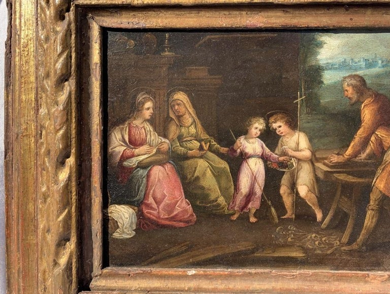 17th century Italian figure painting - Holy Family - Oil on copper Old Master - Baroque Painting by Unknown