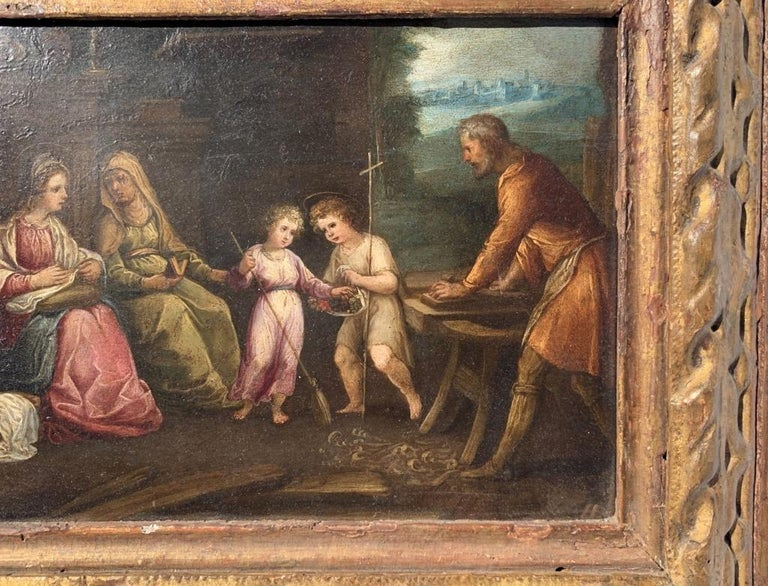 17th century Italian figure painting - Holy Family - Oil on copper Old Master - Brown Landscape Painting by Unknown