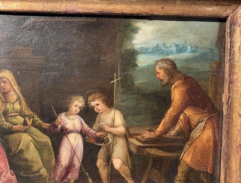 Italian master of the 17th century. - Holy Family with S. Anna and S. Giovannino in a landscape.   18 x 23 cm without frame, 31 x 37 cm with frame.  Oil on copper, in a wooden frame.