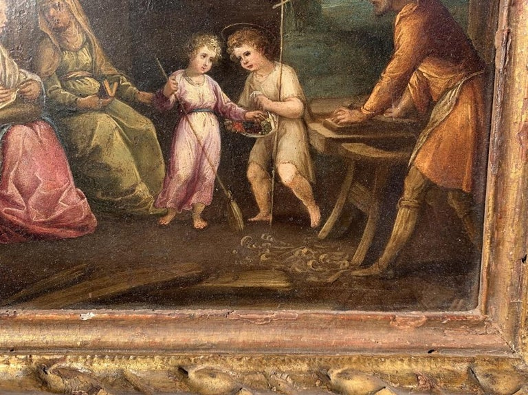 17th century Italian figure painting - Holy Family - Oil on copper Old Master For Sale 1