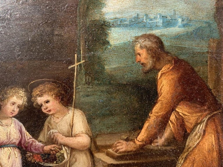 17th century Italian figure painting - Holy Family - Oil on copper Old Master For Sale 3