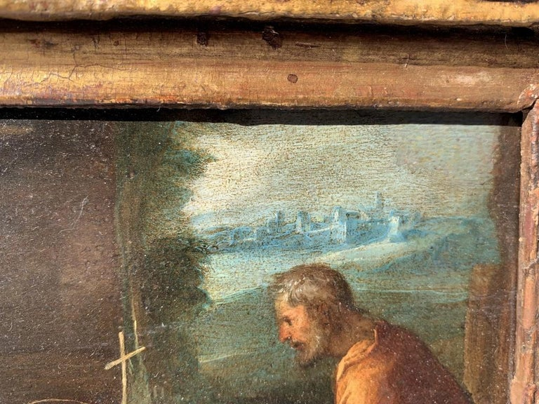 17th century Italian figure painting - Holy Family - Oil on copper Old Master For Sale 4
