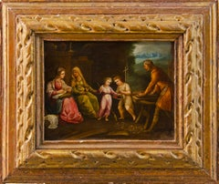 17th century Italian figure painting - Holy Family - Oil on copper Old Master
