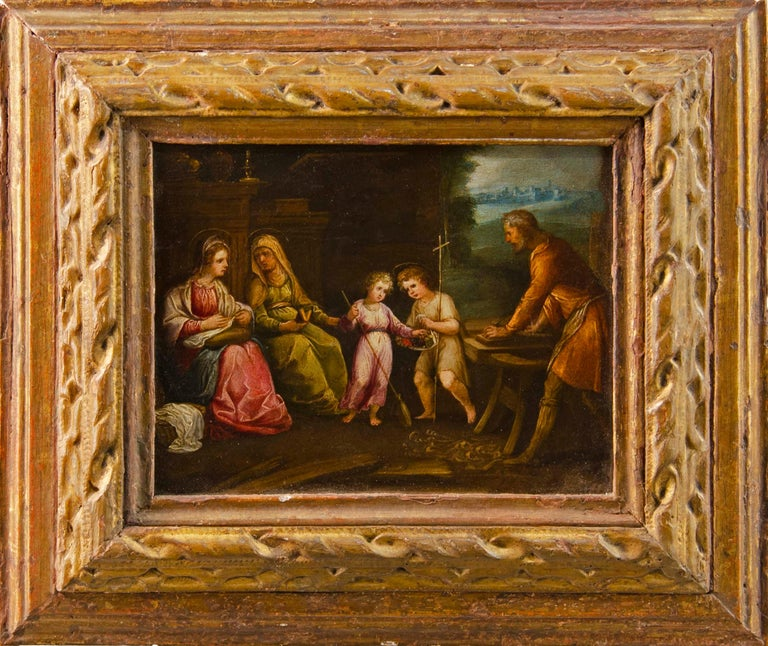 Unknown Landscape Painting - 17th century Italian figure painting - Holy Family - Oil on copper Old Master