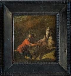 17th century Italian figure painting - Horse - Oil on panel Baroque Florence
