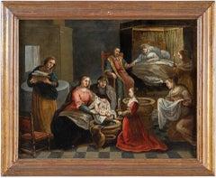 17th century Italian figure painting - Interior - Oil on copper Italy Baroque