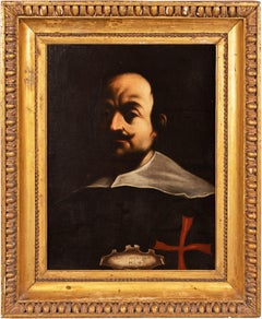17th century Italian figure painting - Lanfranco Portrait - Oil on canvas Italy