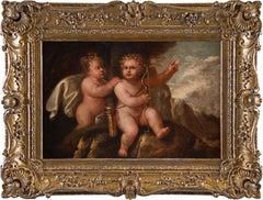 17th century Italian figure painting - Pair Putti - Oil on canvas baroque Italy