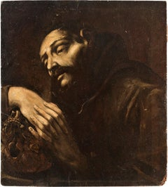 17th century Italian figure painting - St. Francis - Oil on canvas Italy Baroque