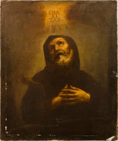 17th century Italian figure painting - St. Francis - Oil on canvas Ribera Italy