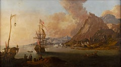 17th century Italian landscape painting - Marine view - Oil on canvas Italy