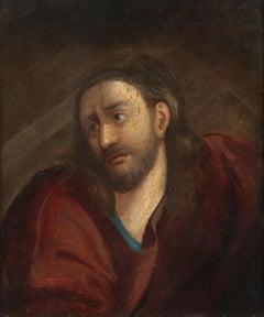 17th Century Venetian School Jesus Christ's Face Oil on Canvas Red Brown Black