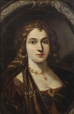 17th Century Venetian School Portrait of a Lady Oil on Canvas Yellow gold brown