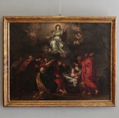 17th Italian School Century Oil Painting On Copper Assumption Of The Virgin Mary