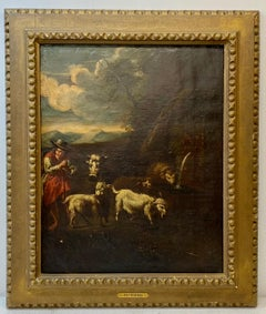 """17th to 18th Century """"The Shepherd"""" European Old Master Oil Painting"""
