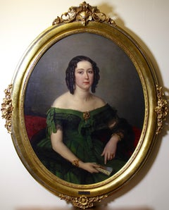 1852 oval Portrait of Marie Potonie (Sievers), Oil Painting