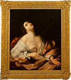 18th-19th century Italian figure painting - Cleopatra Oil on canvas Nude