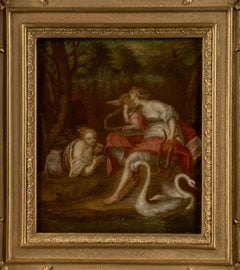 18th C, Baroque style, Mythology, Muses Erato and Euterpe with Amor and Swans