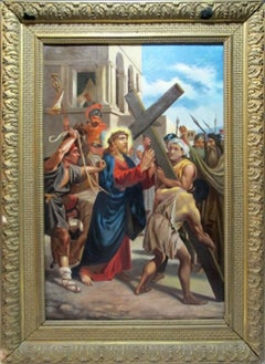 18th c. Continental Figural Oil Painting CHRIST CARRYING THE CROSS