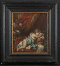 18th C, Late Baroque Style, Still Life, Dutch School, Vanitas Scene with Cherub