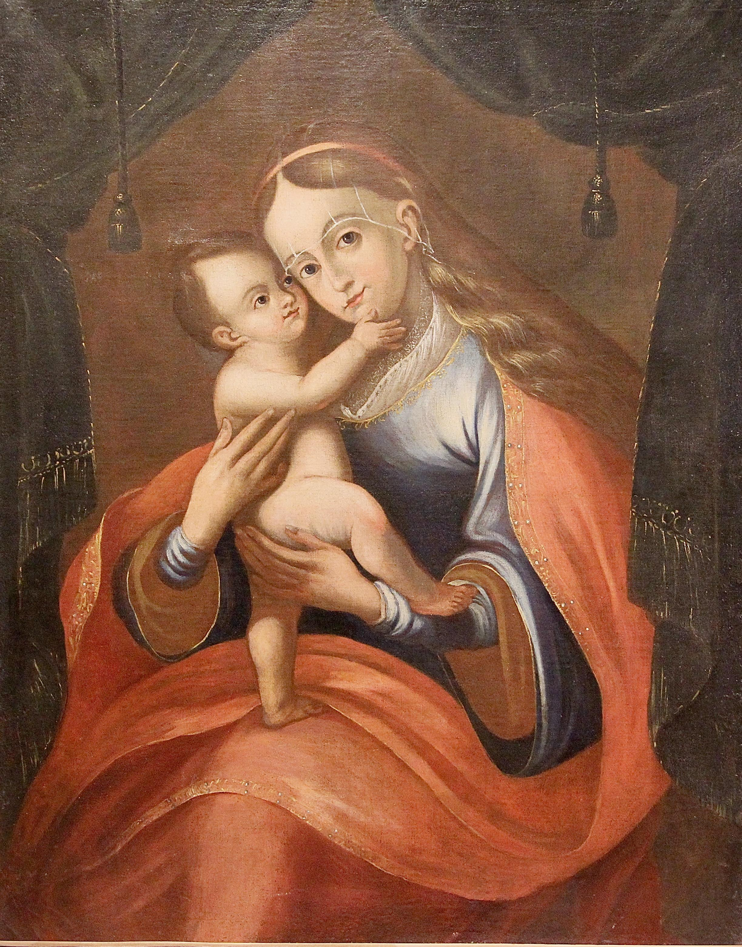 18th Century, Antique Oil Painting, Old Master. Portrait of Mother with child.