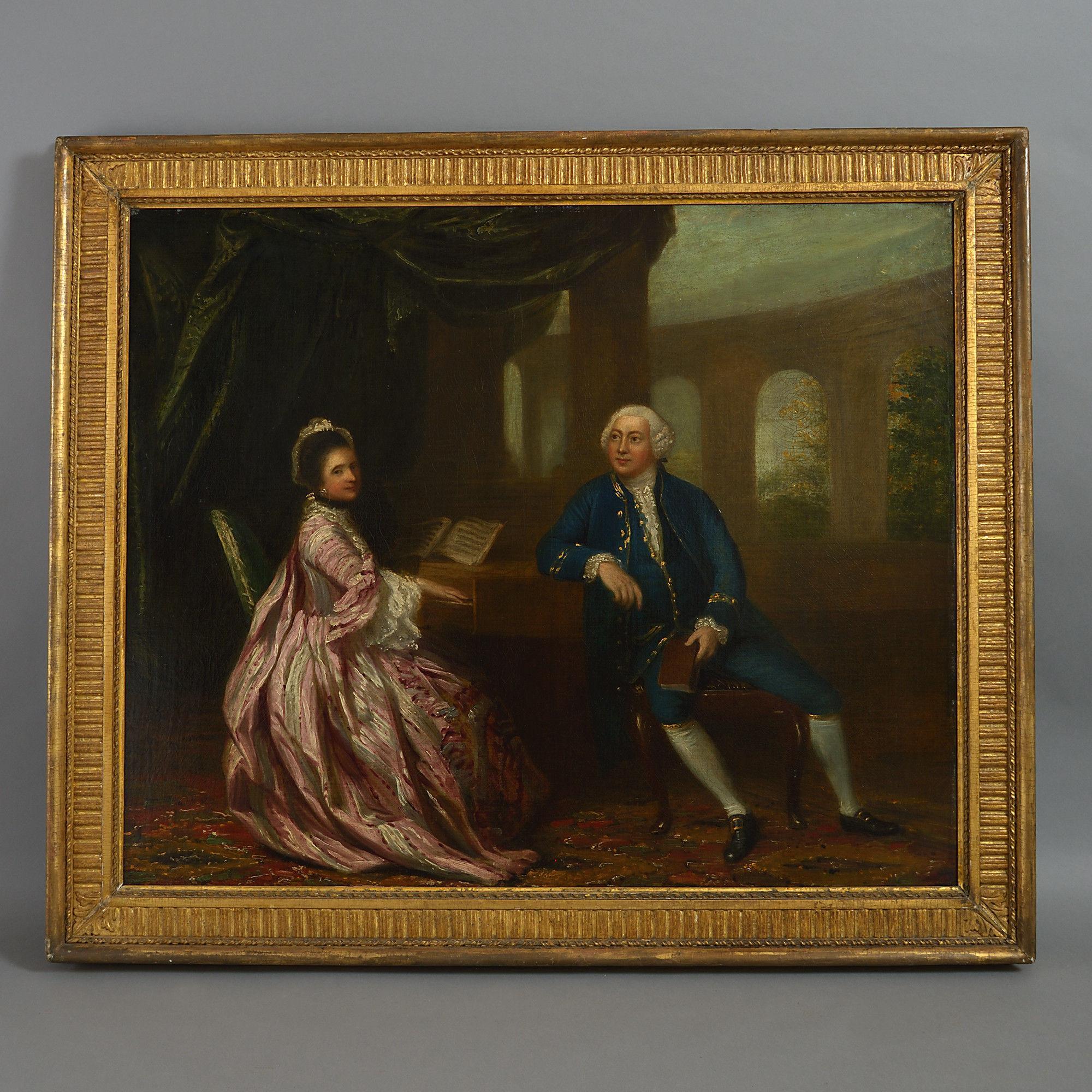 18th Century Double Portrait, Follower of Sir Joshua Reynolds Oil on Canvas