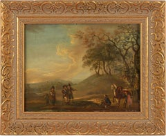 18th century Dutch landscape painting - Travelers - Oil on copper frame