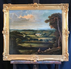 18th Century English Sporting Oil Painting Country House Landscape