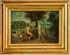 18th century Flemish figurative painting - Adam Eve, Oil on panel figure Italian