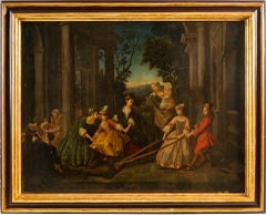18th century French figure painting - Gallant scene Oil on canvas Italian Rococo