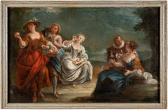 18th century French figure painting - Gallant scene - Oil on canvas Watteau