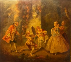 18th CENTURY FRENCH ROCOCO OIL ON WOOD PANEL - ELEGANT FIGURES IN PARKLAND